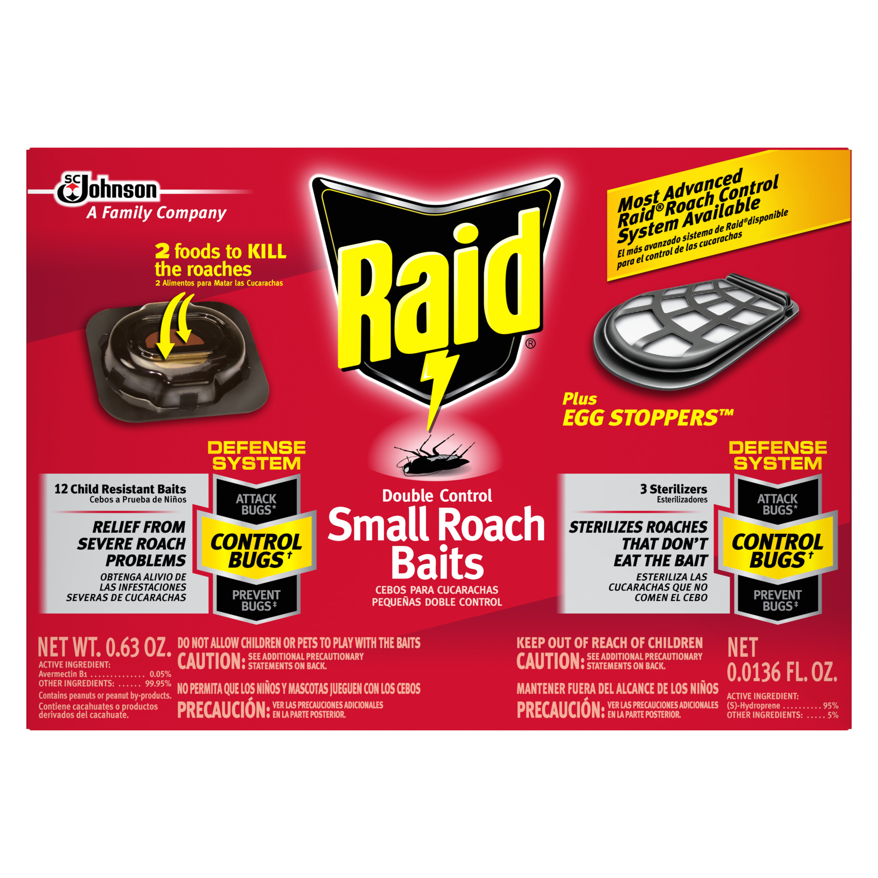 Raid Double Control Small Roach Baits and Raid Plus, Egg Stoppers, 12 count + 3 count