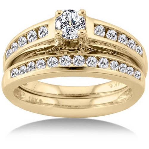 1 Carat Prong Set Diamond 14kt Yellow Gold Bridal Set Walmartcom