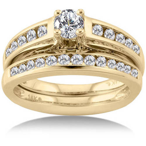 1 Carat Diamond Yellow Gold Bridal Set