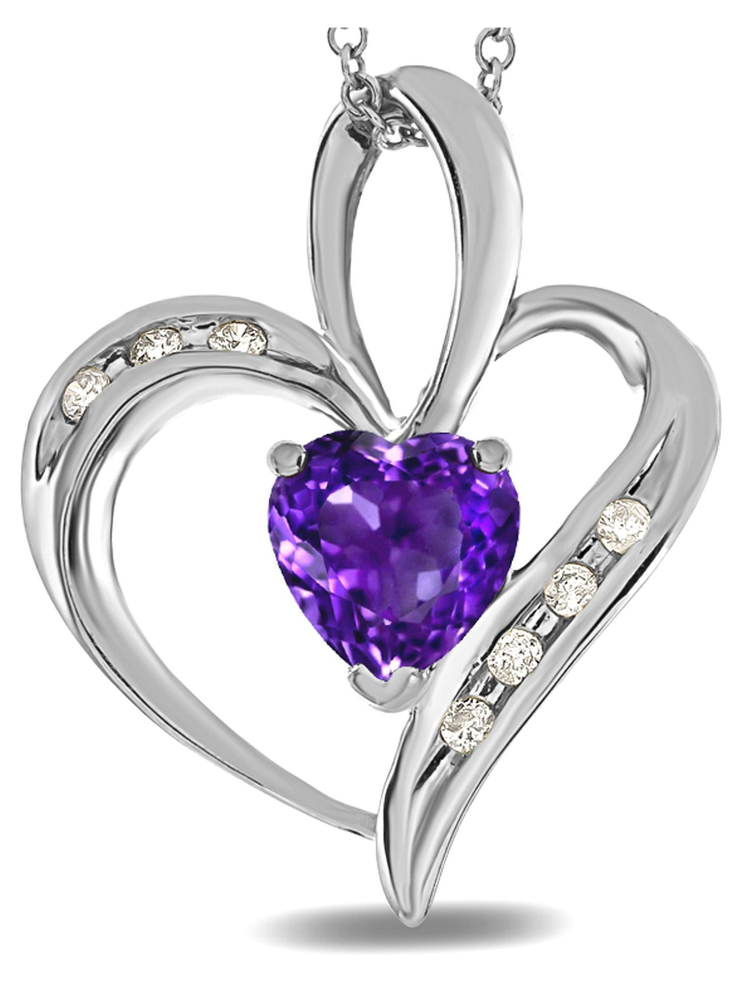 Star K Heart Shape 6mm Genuine Amethyst Pendant Necklace by Star K