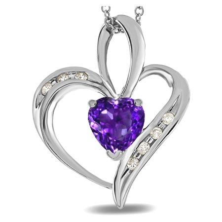 Star K Heart Shape 6mm Genuine Amethyst Pendant Necklace