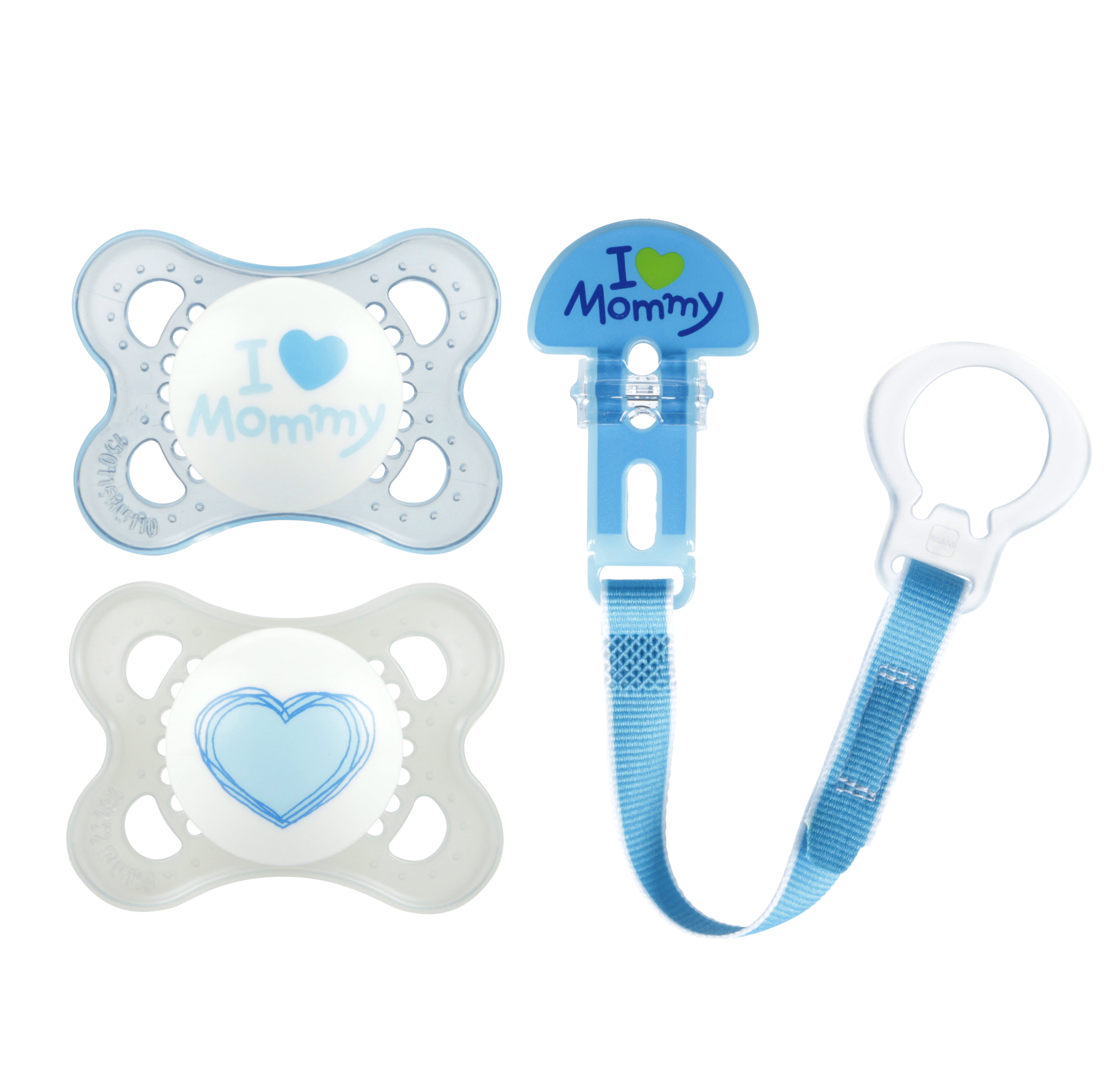 MAM Love & Affection Mommy Orthodontic Pacifier and Pacifier Clip, 0-6 Months, 2 pacifiers, 1 pacifier clip, Boy