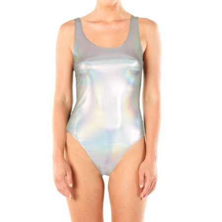 Vlara Women's Metallic Shiny Bodysuit Chrom Top