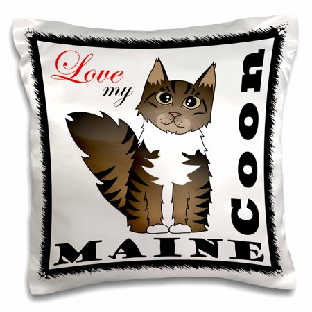 - 3dRose Love My Maine Coon Cat - Brown Tabby with White - Pillow Case, 16 by 16-inch