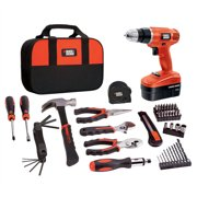 BLACK+DECKER 18V Cordless NiCad Drill/Driver with 64-Piece Complete Home Project Kit