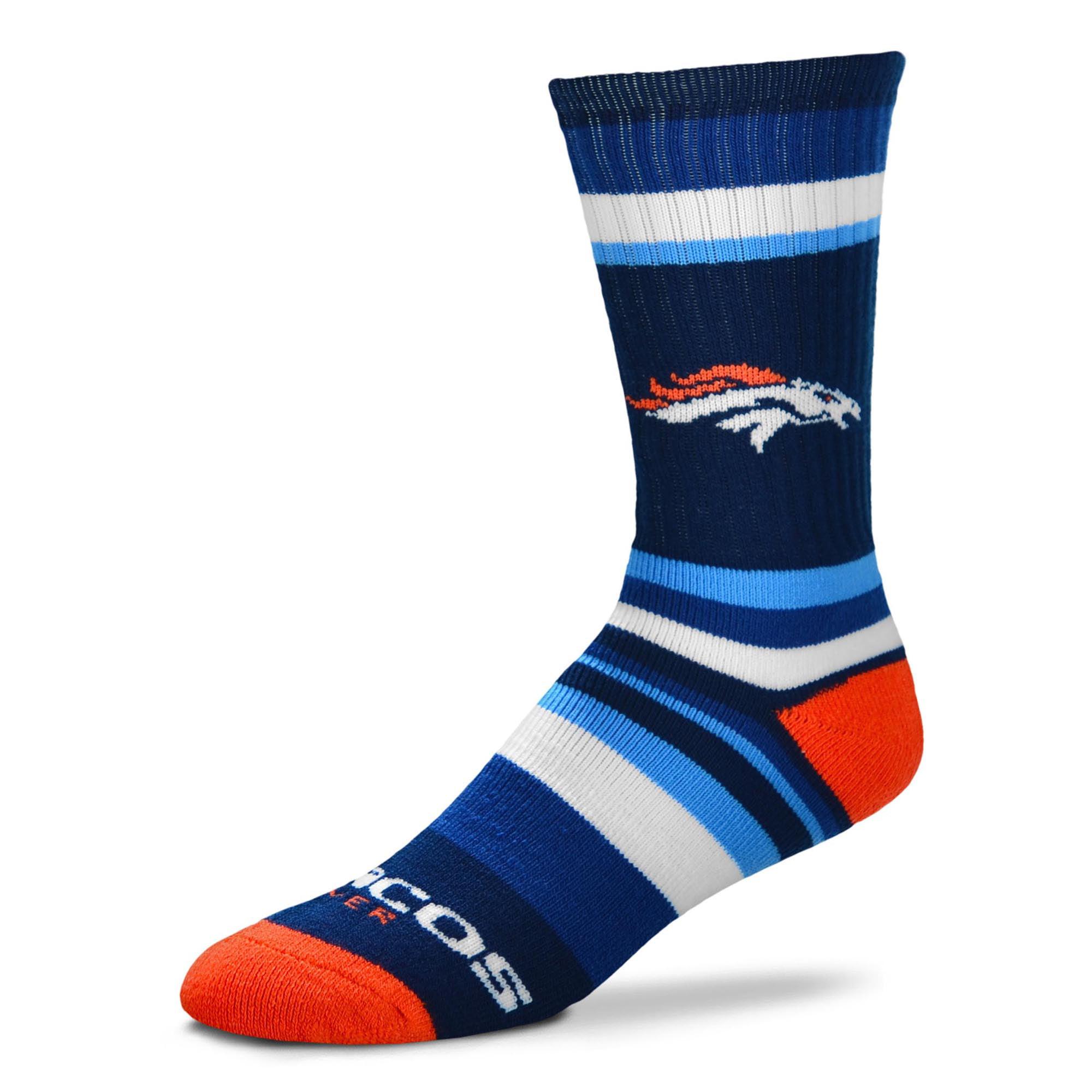 Denver Broncos For Bare Feet Rainbow Stripe Tri-Blend Crew Socks - L