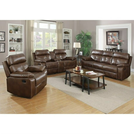 Coaster Furniture Damiano Faux Leather Motion Reclining Sofa Set In Brown