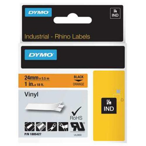 DYMO 1805427 Label Cartridge,Black/Orange,18 ft. L
