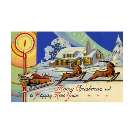 Happy New Year Art - Merry Christmas And A Happy New Year Print Wall Art By Curt Teich & Company
