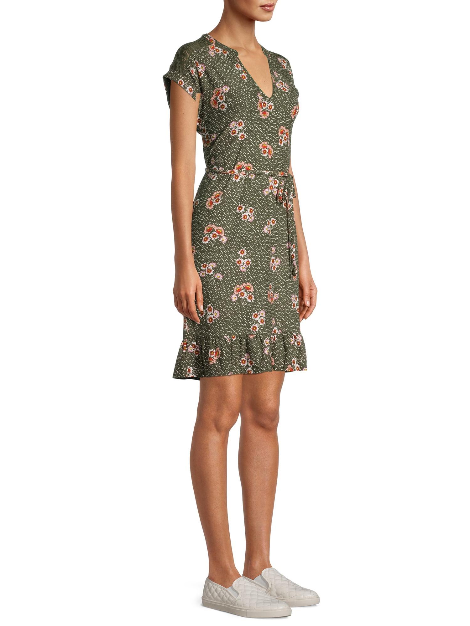 Mint Lace Back Floral Print Dress No Boundaries JUNIORS LARGE 11//13