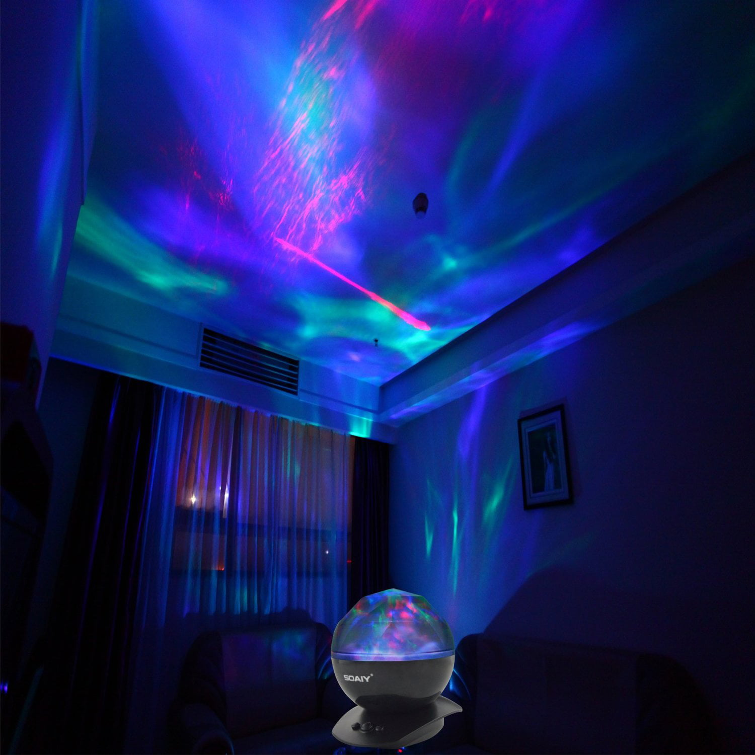 Soaiy Night Light Music Projector White Noise Machine Color Chaing Sleep Sound Soother Aurora Projectable Lamp For S Kids Toddler Baby Infant