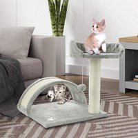 """ScratchMe 17"""" Height Tree Condo with Scratching Post, Cat Tower Pet Play House with Toy, Grey, 1-Pack"""