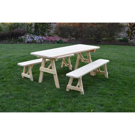 Kunkle Holdings LLC Pressure Treated Pine Unfinished Picnic Table - Picnic table with removable benches