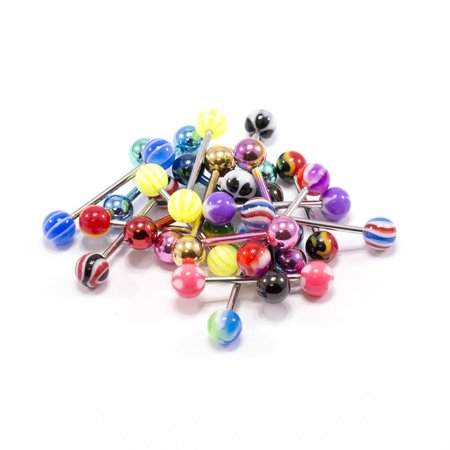 - 20 pcs Assorted Tongue Rings straight barbells 14G Surgical Steel