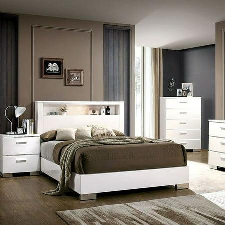 Queen Size Platform Bed Headboard Shelves Bedroom Furniture White Finish