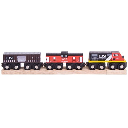 Canadian National Train - Other Major Wooden Rail Brands are Compatible, This smart engine features a caboose & a goods wagon. By Bigjigs Rail