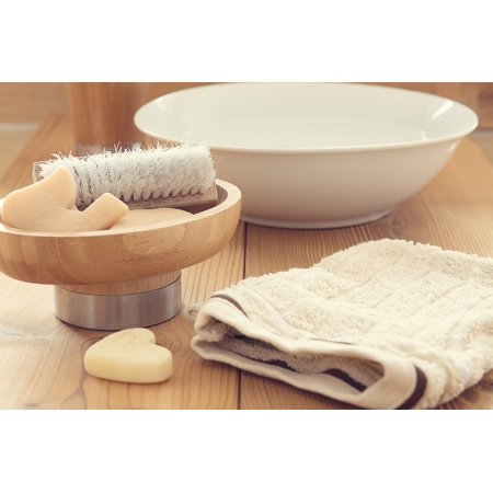 Laminated Poster Wash Washcloth Brush Bad Body Care Bowl Soap Poster Print 24 X 36