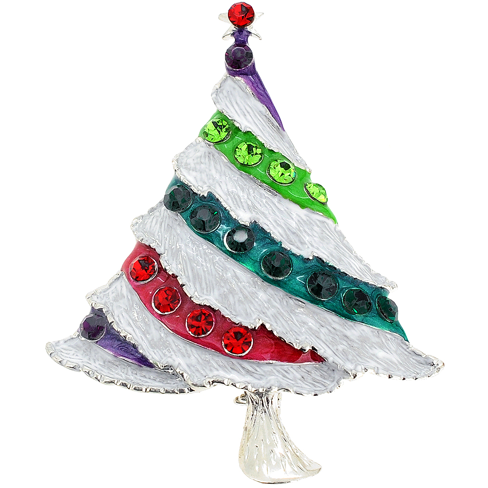 Multicolor Christmas Tree Pin Brooch by