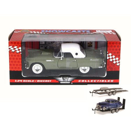 Diecast Car & Trailer Package - 1956 Ford Thunderbird Closed Convertible, Green - Motor Max 73312W - 1/24 Scale Diecast Model Toy Car w/Trailer -  ModelToyCars