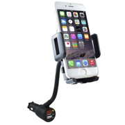 SOAIY 3-in-1 Cigarette Lighter Phone Holder Cradle Gooseneck Car Mount Charger with Dual USB 3.1A Charging Ports for iPhone X 8 8 Plus 7 7 Plus 6 6s Plus, Samsung Galaxy S8 S7 S6 S5, Andriod