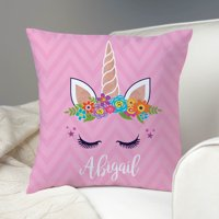 Happy Unicorn Personalized Throw Pillow