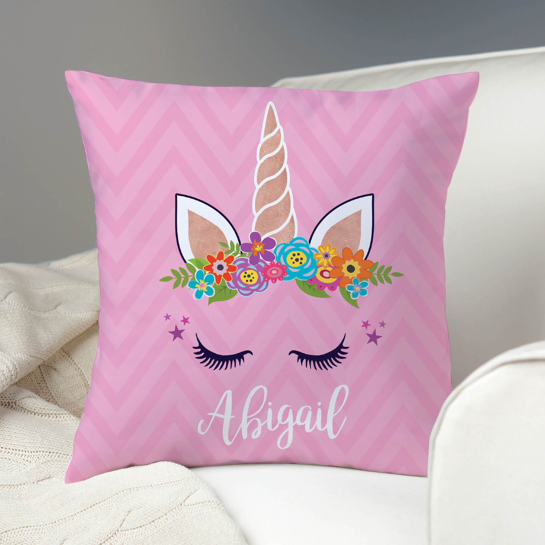 Happy Unicorn Personalized Throw Pillow