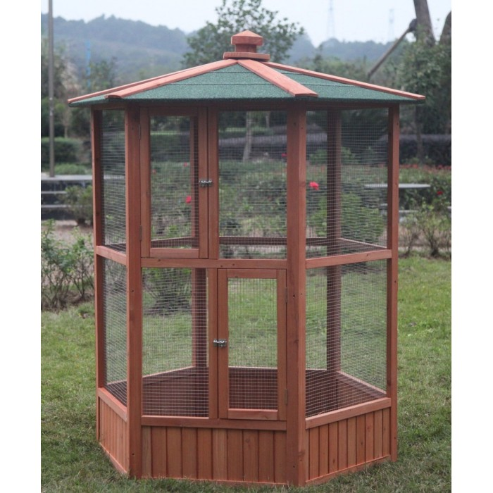 6 ft New Wooden Aviary Hexagonal Flight House Cage Ideal ...