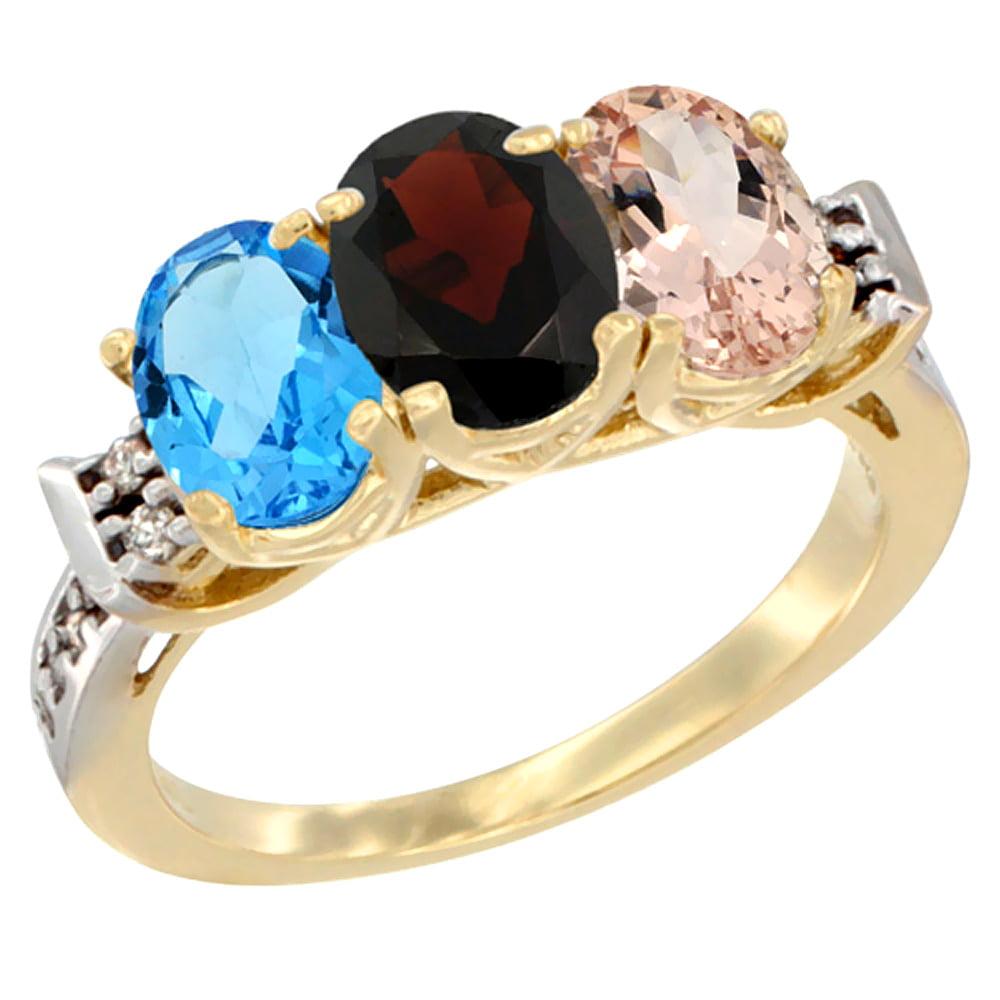 10K Yellow Gold Natural Swiss Blue Topaz, Garnet & Morganite Ring 3-Stone Oval 7x5 mm Diamond Accent, sizes 5 10 by WorldJewels