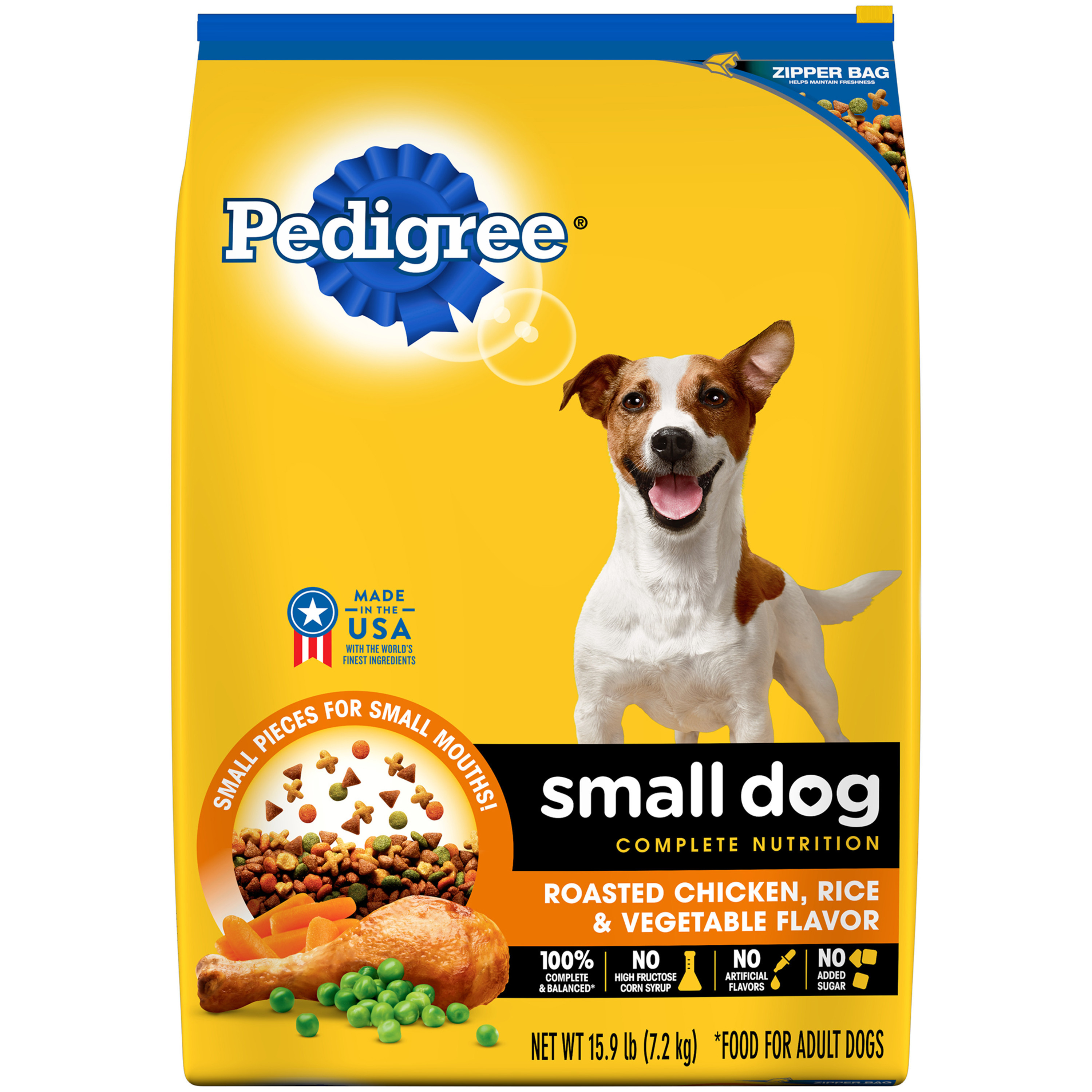 PEDIGREE Small Dog Adult Complete Nutrition Dry Dog Food, Roasted Chicken, Rice & Vegetable Flavor, 15.9 Lb