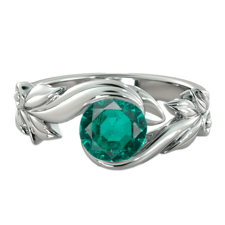 - 1 CT Lab Created Green Emerald Stone Ring 14K White Gold Flower Leaves Leaf