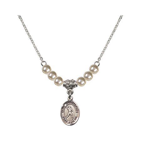 18-Inch Rhodium Plated Necklace with 4mm Faux-Pearl Beads and Saint Christopher/Football Charm](Football Bead Necklace)