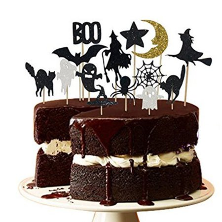 14PCS Cake Topper,Justdolife Halloween Cupcake Topper Witch Bat Cupcake Pick Cake Topper Decoration Food Pick