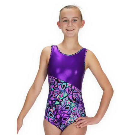 Gymnastics Leotard for Girls - Switch/Purple Comic Stars - Leap Gear - 6 | Child Medium (Star Wars Leotard)
