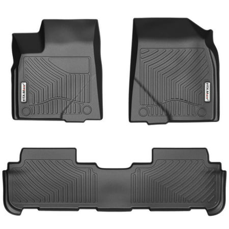 Car Mats, Heavy Duty Rubber Floor Mats for Toyota Highlander 2014-2018, All Weather Floor Protection, (2006 Toyota Highlander Floor Mats All Weather)