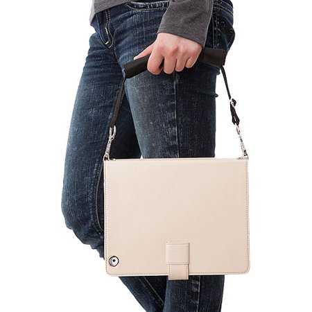 Simplism Leather Flip Beige White Note Case for New iPad (Beige Carrying Case)