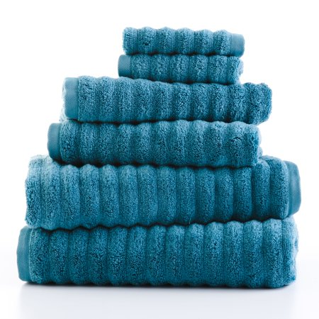 Mainstays Performance Textured 6-Piece Bath Towel Collection - Coolwater