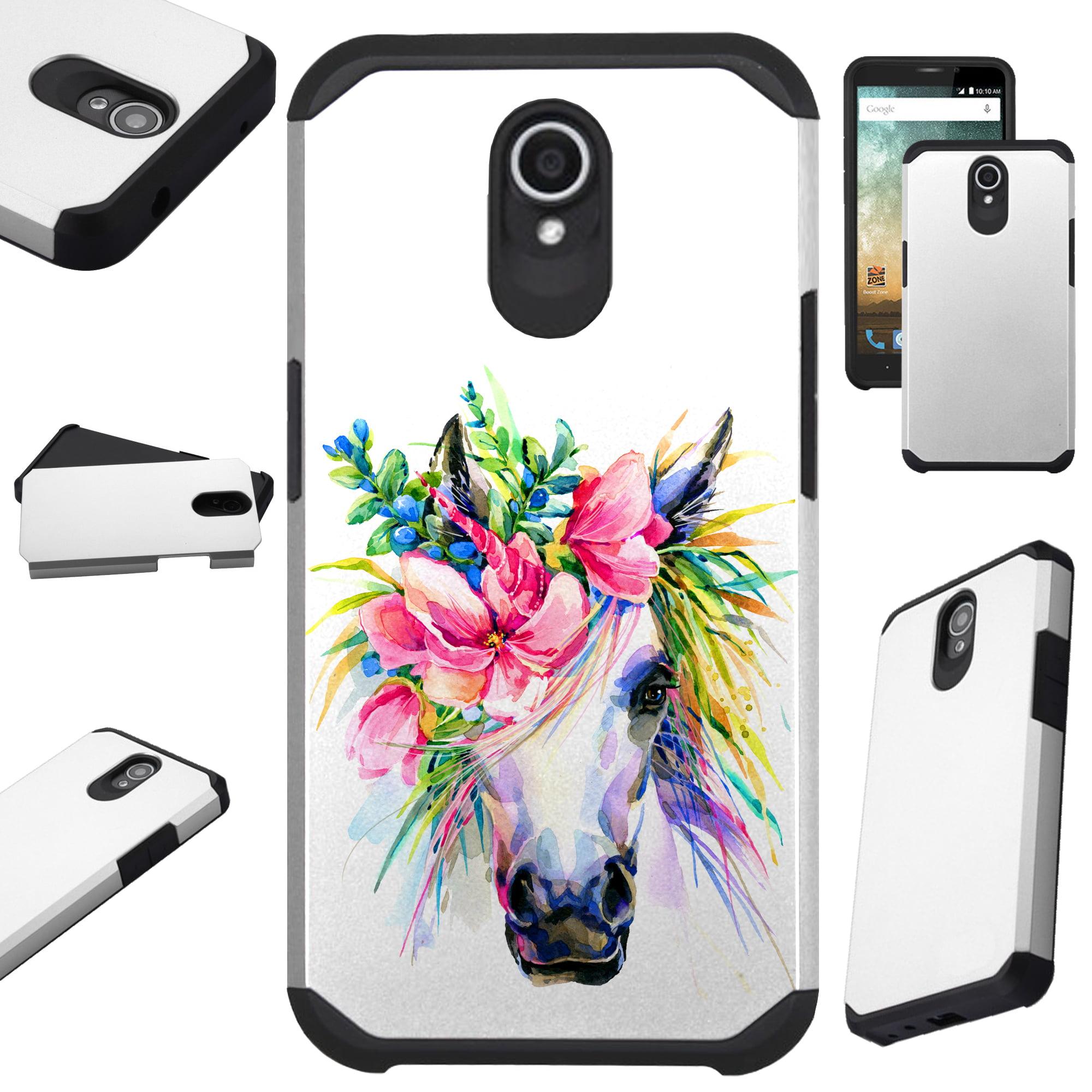 Compatible Alcatel idealXTRA   1X Evolve (2018)   TCL LX Phone Case Hybrid TPU Fusion Cover (Unicorn Flower)