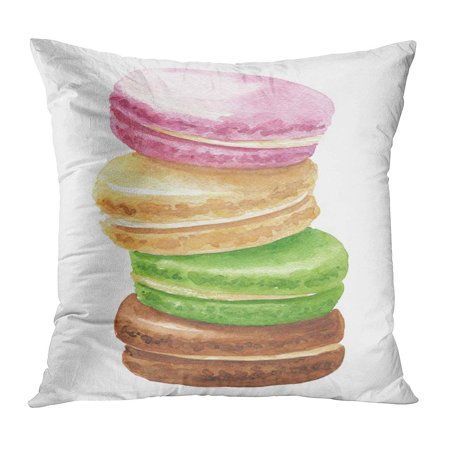 ECCOT Green Bakery Watercolor Pile of Colorful Macaron French Cakes Delicious Food Pink Best Biscuit Breakfast Pillow Case Pillow Cover 16x16