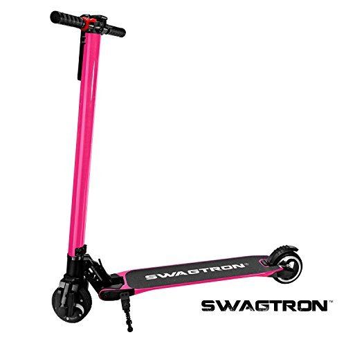 SWAGTRON Swagger High Speed Adult Electric Scooter; Ultra-Lightweight Carbon Fiber; Easy Fold-n-Carry Design (Black)