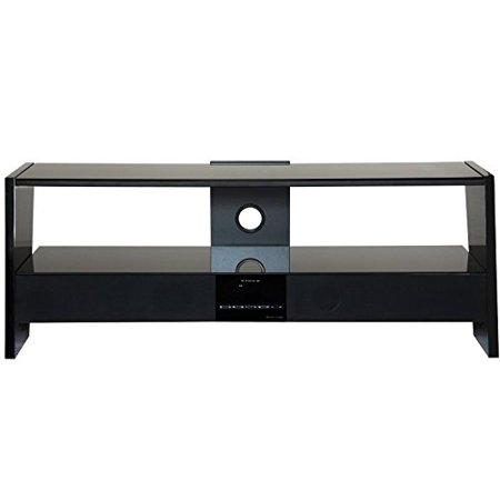 Fitueyes Black 2-tierstempered Glass Shelf Tv Stand with Sound Bar Surround Sound Tv Table for up to 48 Inch Tvs/xbox One/ps4/dvd Player
