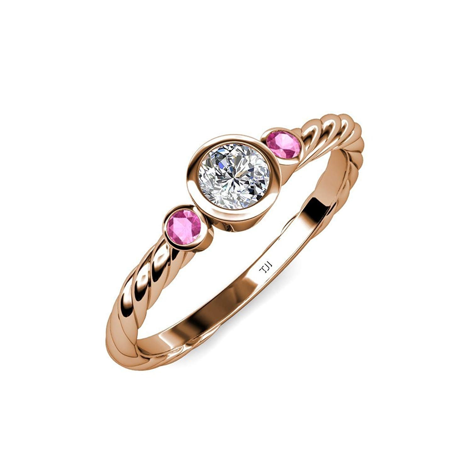 Diamond (SI2, G) and Pink Sapphire Three Stone Rope Ring 0.71 ct tw in 14K Rose Gold.size 6.5 by TriJewels