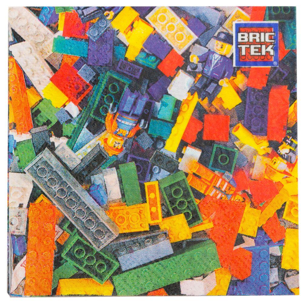 Lego Compatible Bric Tek Beverage Napkins (16 Pack) - Party Supplies