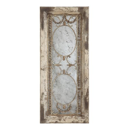 3R Studios Pine Wood Antiqued Wall Mirror - 51.1W x 21.9H in. Antique Pine Wood
