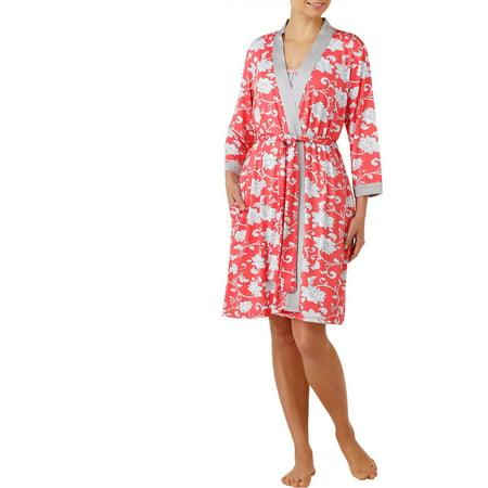 Secret Treasures Women's and Women's Plus Strappy Chemise & Robe Sleepwear Set