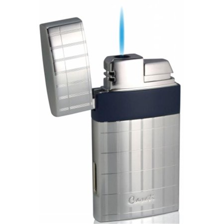 Caseti CAL438ERBL Caseti Troy Polished Chrome With Blue Single Torch Flame Cigar Lighter
