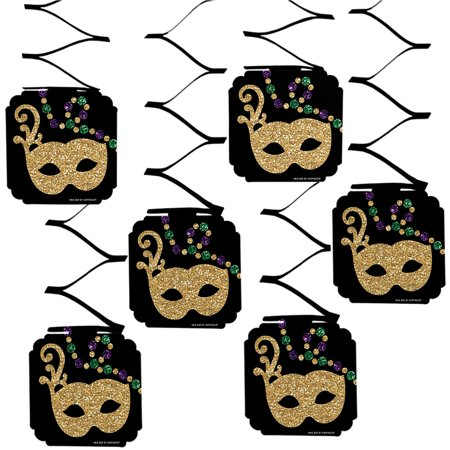 Mardi Gras - Masquerade Party Hanging Decorations - 6 Count - Mardi Gras Decorations Clearance