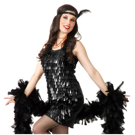 Charades Sexy Womens Black 20s Flapper Cabaret Halloween Costume Dress (Halloween Charades Words)