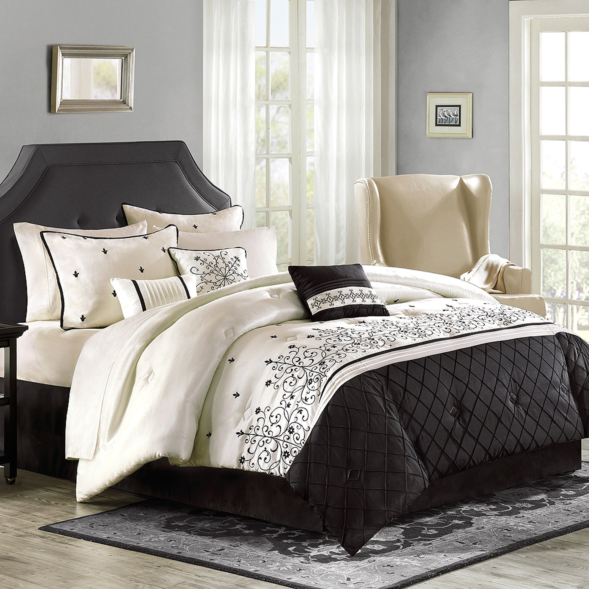 Luxury home willowbrook 8 piece comforter set for Better homes and gardens customer service telephone number