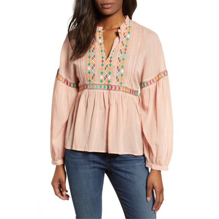 Lucky Brand | Embroidered Peasant Top | Pink Voile Peasant Top