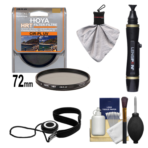 Hoya 72mm HRT Circular PL Polarizer UV Multi-Coated Glass Filter   Accessory Kit for Canon, Nikon, Sony, Olympus & Pentax Lenses